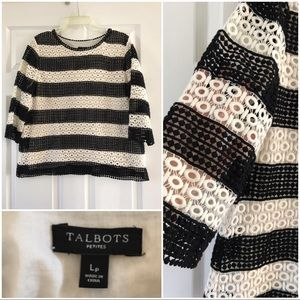 Talbots open weave crocheted top 3/4 sleeves